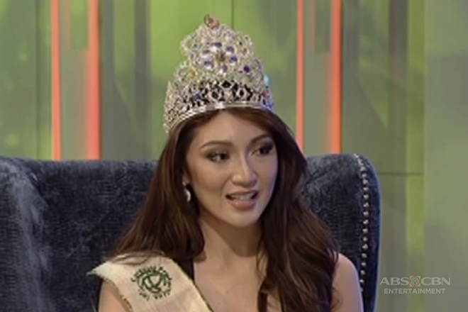 Miss Earth 2017 Karen Ibasco denies cheating in the Q&A portion of Miss Earth